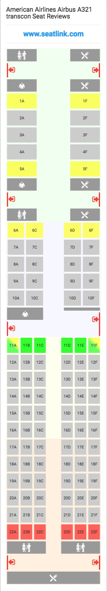 American Airlines Airbus A321 Transcon 32b Seat Map