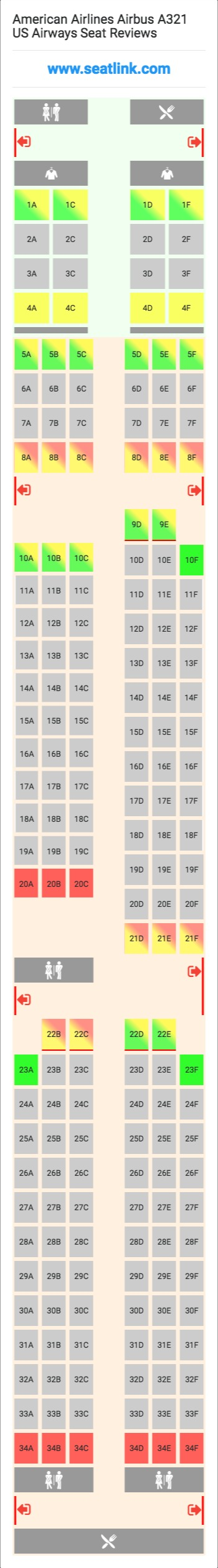 American Airlines Airbus A321 US Airways Seating Chart - Updated ...