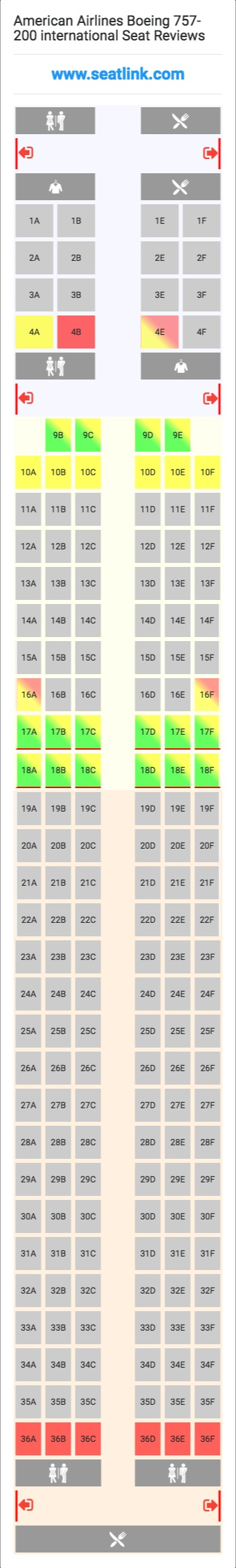 American airlines seat map 757 review home decor for International seating decor
