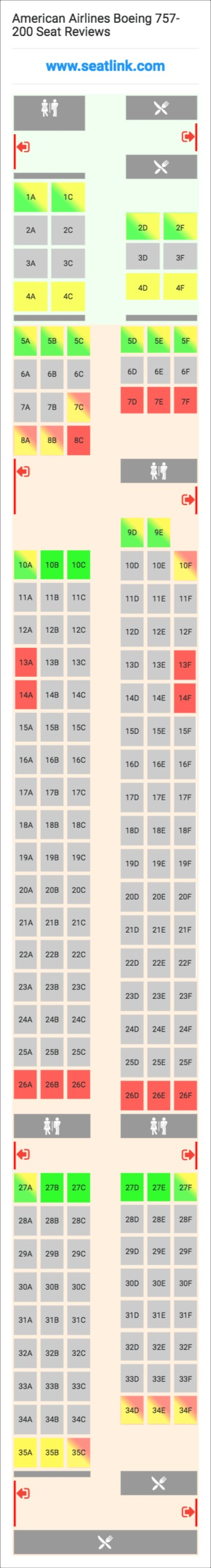 American Airlines Boeing 757 200 Seating Chart Updated