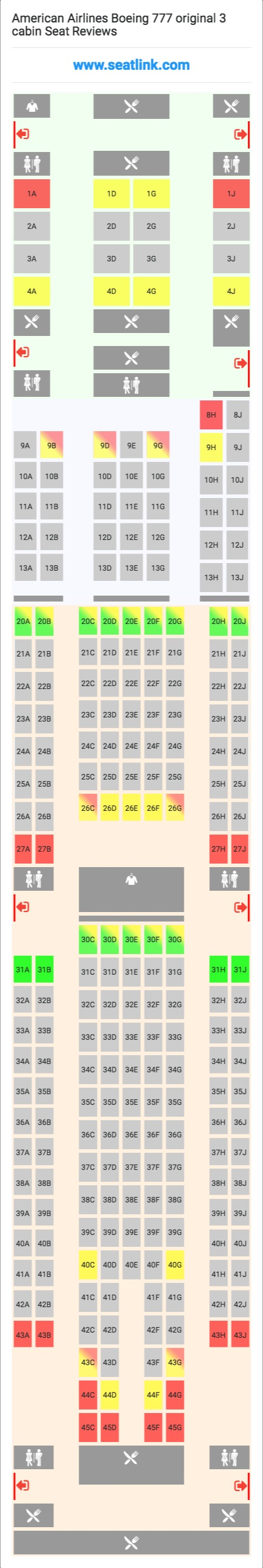 American Airlines Boeing 777 Original 3 Cabin Seating Chart