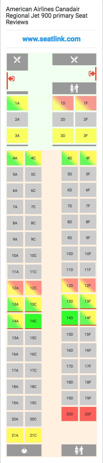 American Airlines Canadair Regional Jet 900 Primary Seating Chart