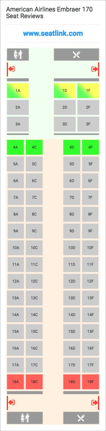 American Airlines Embraer 170 Seating Chart - Updated December 2019