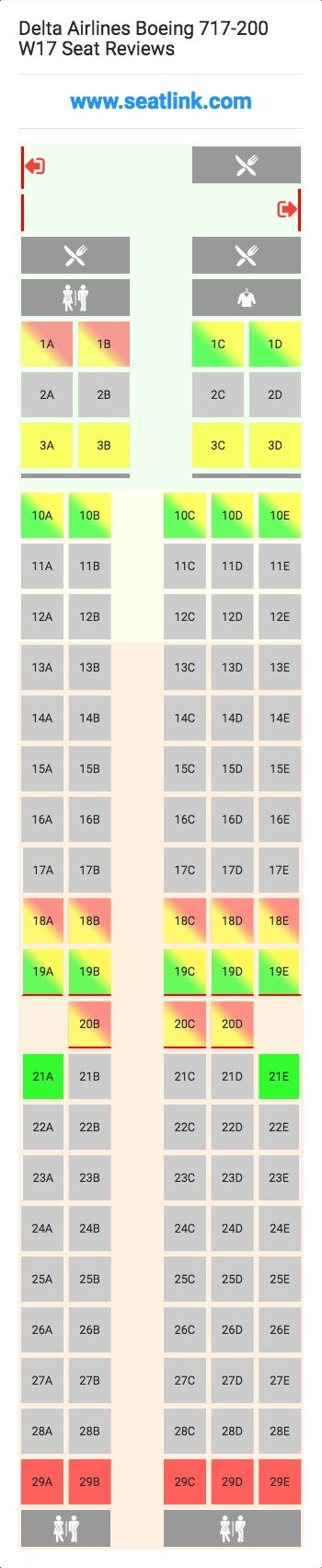 Delta Airlines Boeing 717 200 W17 Seat Map