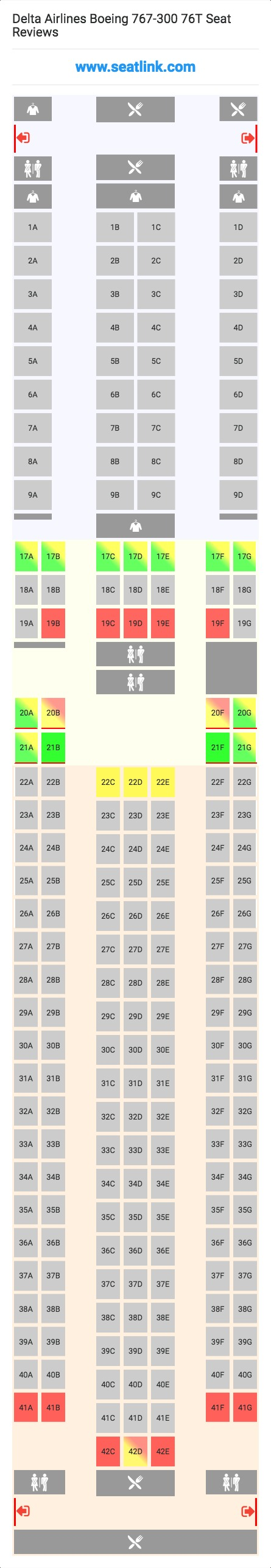 Delta Airlines Boeing 767-300 76T Seating Chart - Updated July 2019 on