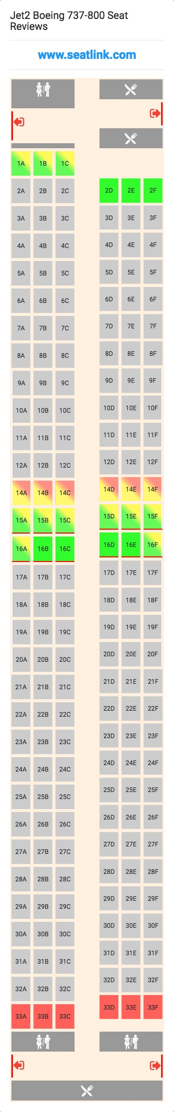 Jet2 Boeing 737-800 Seating Chart - Updated September 2019