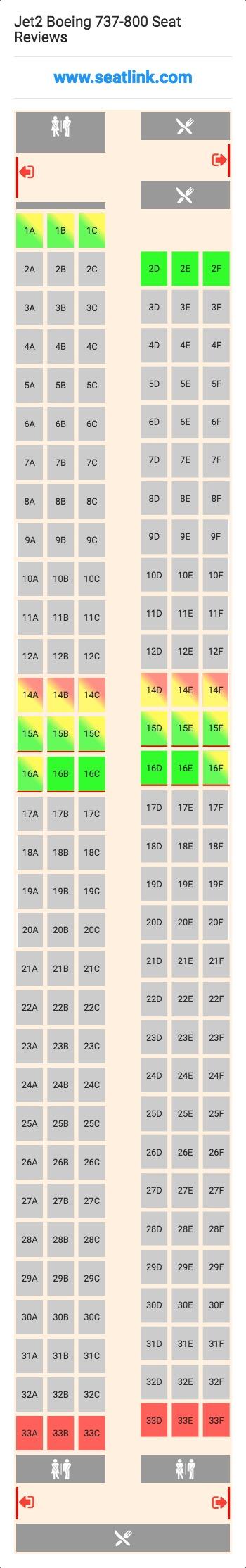Jet2 Boeing 737 800 Seating Chart Updated September 2019 Seatlink