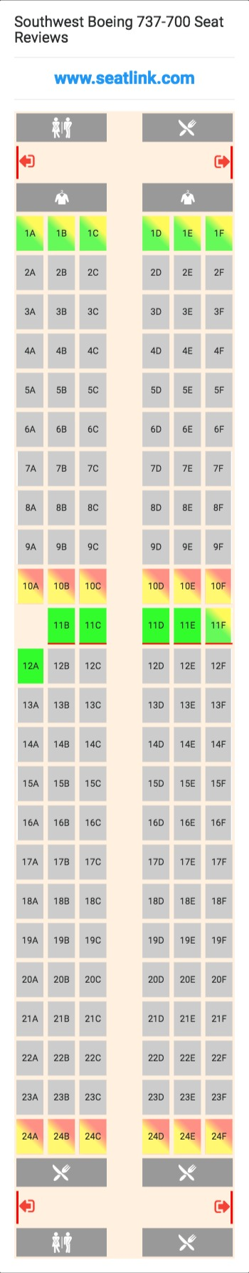 Southwest Boeing 737 700 Seating Chart Updated September 2019