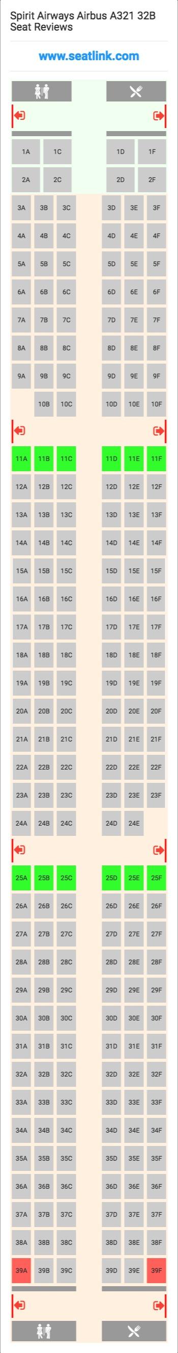 Spirit Airways Airbus A321 32B Seating Chart - Updated August 2019 ...