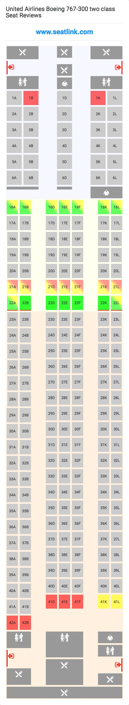 United Airlines Boeing 767-300 two cl Seating Chart - Updated ... on