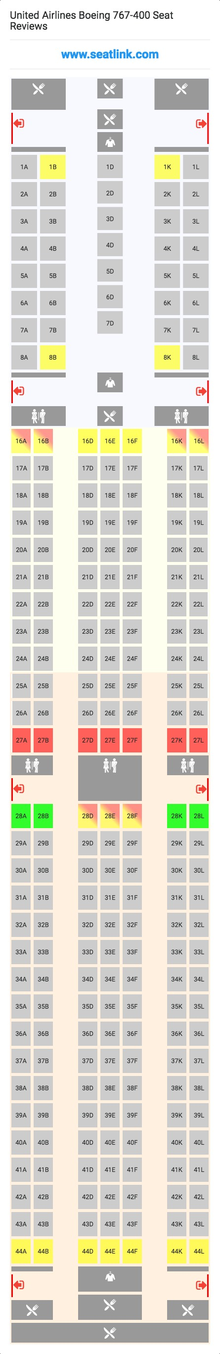 United Airlines Boeing 767 400 Seating Chart Updated