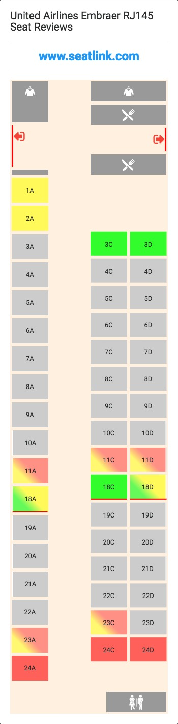 United Airlines Embraer RJ145 Seating Chart - Updated ...